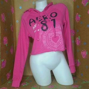 Aeropostale Pink Cropped Hooded Sweatshirt Size S